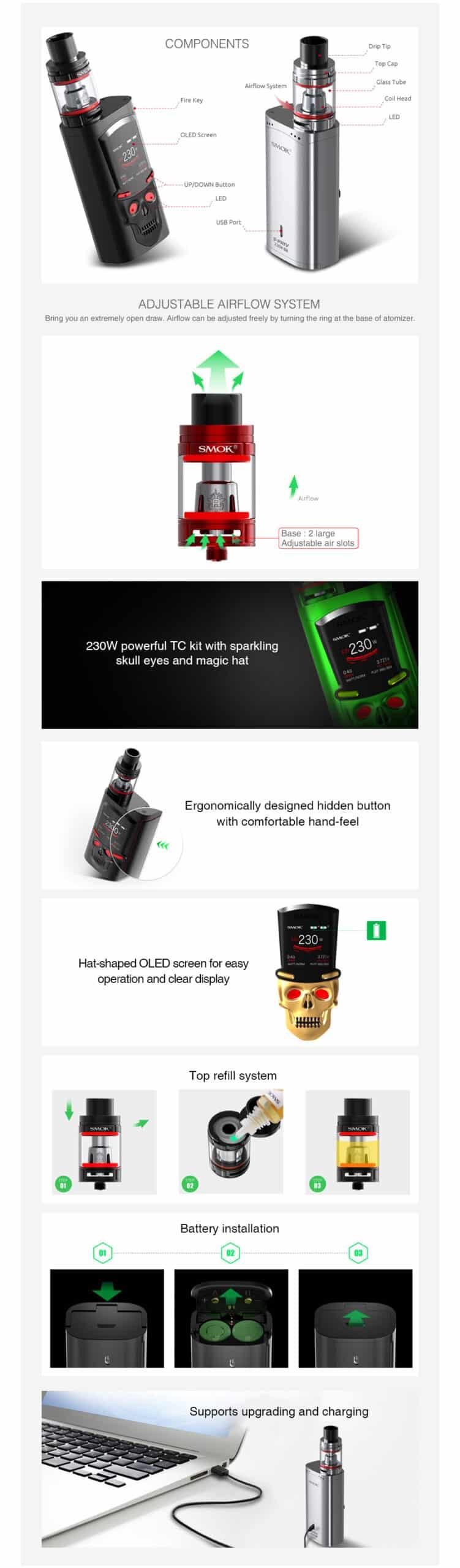 SMOK S Priv 230W TC Kit with TFV8 Big Baby 08 dea897 scaled   E-sigarett, E-juice og Aroma nettbutikk   ECigge.no